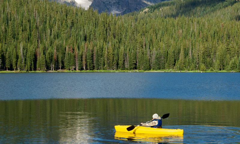 Kayaking on a lake in Rocky Mountain National Park Colorado